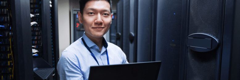 Technician testing disaster recovery plan